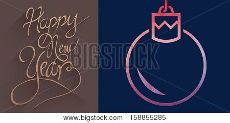 graphic christmas ornament against classy new year greeting