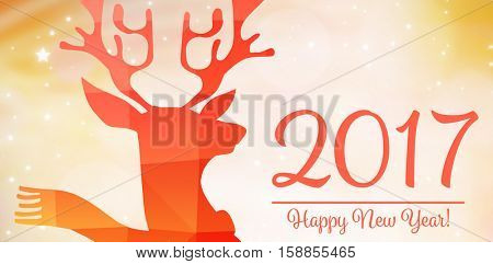 graphic deer against classy new year greeting