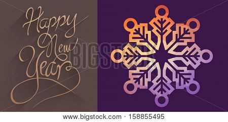 Graphic snowflake against classy new year greeting