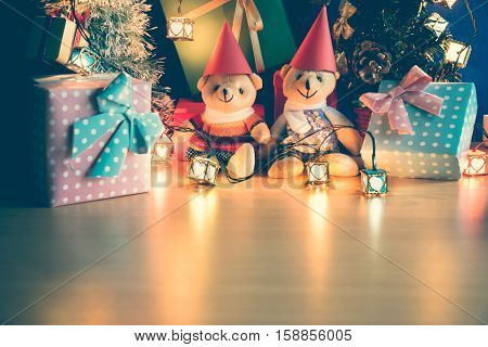 Ornament And A Couple Lovely Teddy Bear, Christmas Decorate At Merry Christmas And Happy New Year Ni