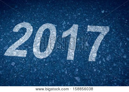 Happy New Year 2017 against road