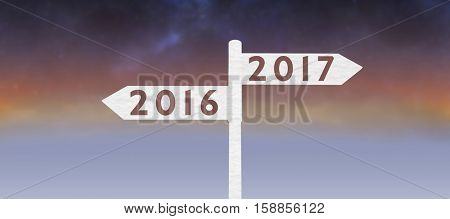 Digital image of new year 2017 against idyllic sky during sundown