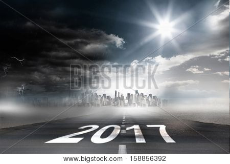 Happy New Year 2017 against 3D open road
