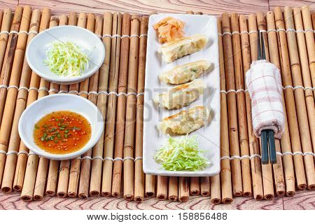 Japanese Steamed Stuffing Flour With Pork And Cabbage As Gyoza.