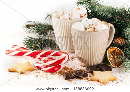Christmas hot drink. Cocoa with marshmallow, chocolate, cinnamon and fir branches on a white background