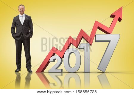 Warehouse manager standing with hands in the pocket against yellow vignette with 3D new year