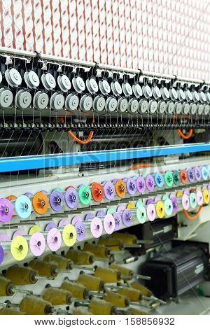 Textile Machinery. sewing equipment, loom. Equipment at a garment factory.