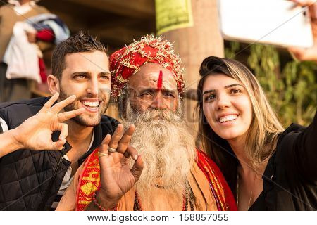 Tourist selfie with a Sadhu in Varanasi, India