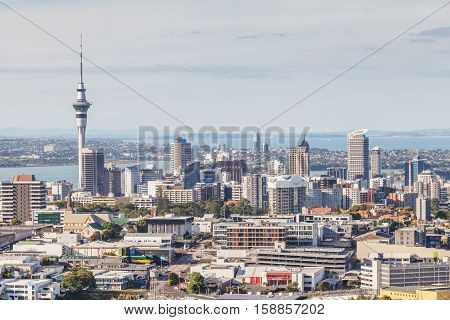 Auckland New Zealand- December 12 2013. Cityscape of Auckland sky tower.