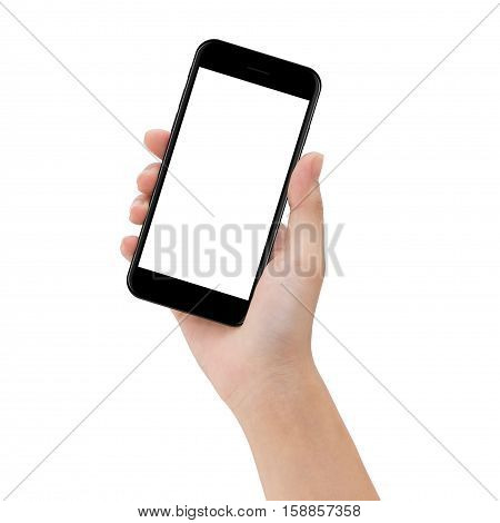 close-up hand hold phone isolated on white mock up smartphone blank screen easy adjustment with clipping path