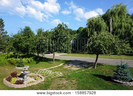 HARBOR SPRINGS, MICHIGAN / UNITED STATES - AUGUST 3, 2016: Apple trees (Malus pumila) line Fourth Street in the front of a home in Harbor Springs.
