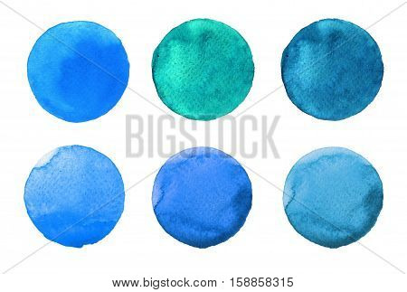 Set Of Colorful Watercolor Hand Painted Circle Isolated On White. Illustration For Artistic Design.