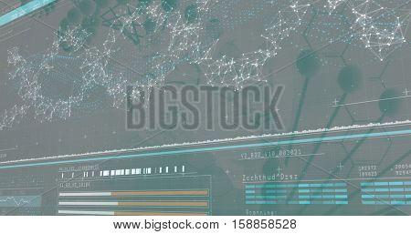 3D genes diagram on dark background