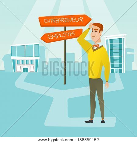 Man standing at road sign with two career pathways - entrepreneur and employee. Man choosing career way. Man making a decision of career. Vector flat design illustration isolated on white background.