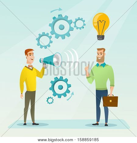 Businessman speaking to megaphone and making announcement for business idea. Businessman came up with idea. Concept of business idea and announcement. Vector flat design illustration. Square layout.