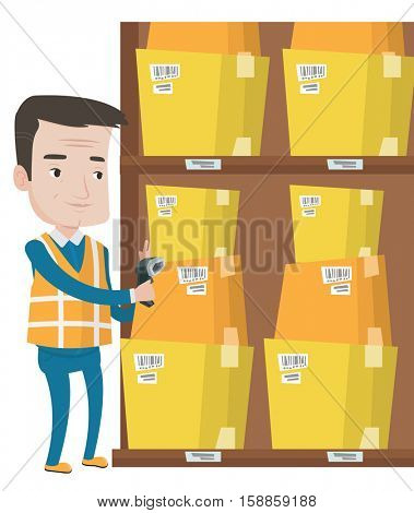 Warehouse worker scanning barcode on box. Warehouse worker checking barcode of boxes with scanner. Warehouse worker working with scanner. Vector flat design illustration isolated on white background.