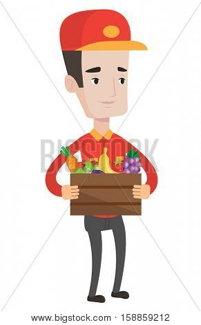 Delivery man delivering online grocery shopping order. Delivery man delivering groceries to customer at home. Worker of delivery service. Vector flat design illustration isolated on white background.