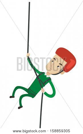 Rock climber in protective helmet climbing on rock. Caucasian climber in action. Man climbing in mountains with rope. Man climbing a rock. Vector flat design illustration isolated on white background.