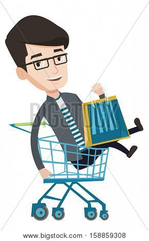 Young carefree customer having fun while riding by shopping trolley. Cheerful caucasian man with shopping bags sitting in shopping trolley. Vector flat design illustration isolated on white background