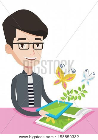Caucasian cheerful man holding tablet computer with application for augmented reality. Concept of augmented reality. Vector flat design illustration isolated on white background.