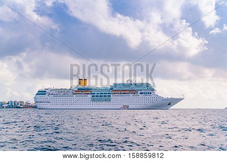 MALE, MALDIVES - October 04 : Luxury cruise ship on the ocean, Maldives island