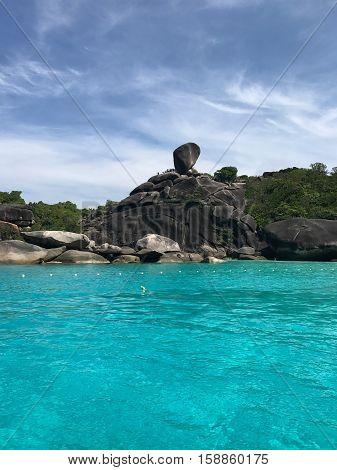 Famous sailing rock in Phuket, Thailand. View from sea