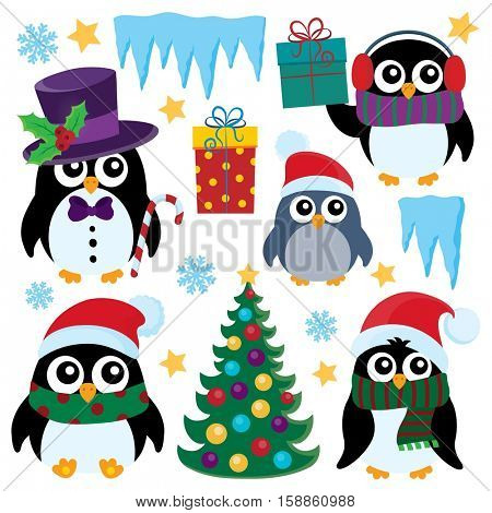 Stylized Christmas penguins set 1 - eps10 vector illustration.