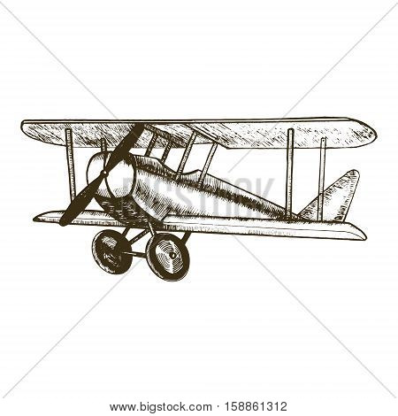 Retro Plane Hand Draw Sketch Vintage Biplane with Propeller Can Be Used for Posters and Cards. Vector illustration