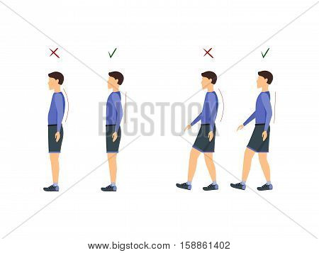 Correct and Incorrect Standing and Walking Posture. Health Care Concept. Flat Design Style Vector illustration