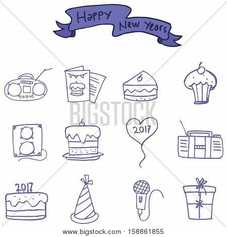 Icon of New Years element vector collection stock