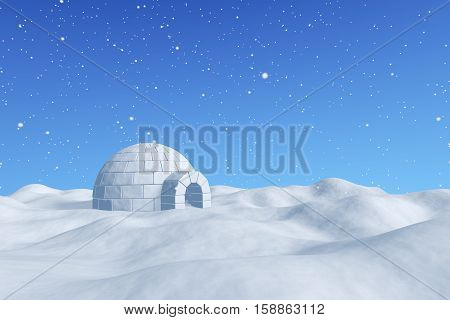 Winter north polar snowy landscape - eskimo house igloo icehouse made with white snow on surface of snow field under cold north blue sky under snowfall 3d illustration poster