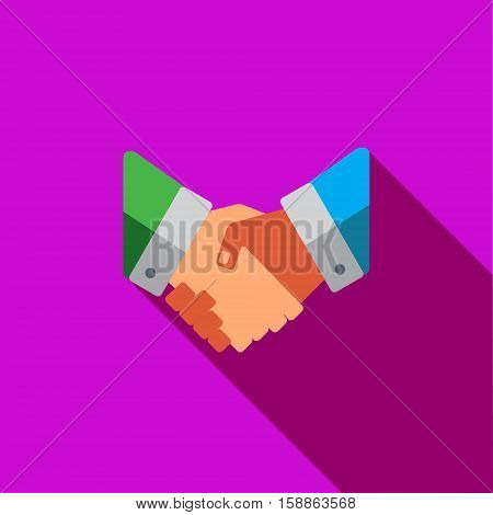 Vector icon or illustration showing deal with two hands shake each other in flat design style with long shadow