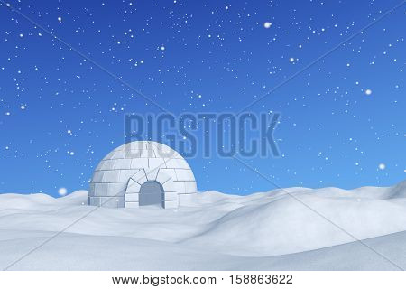 Winter north polar snowy landscape - eskimo house igloo icehouse made with white snow on snow surface of snow field under cold north blue sky with snowfall 3d illustration poster