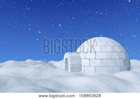 Winter north polar snowy landscape - eskimo house igloo icehouse made with white snow on surface of snow field under cold north blue sky with snowfall 3d illustration. poster