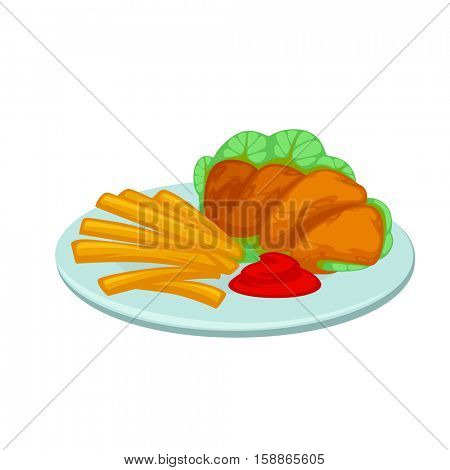Chicken nuggets, french fries with sauce. Meal in american fast food restaurant crunchy poultry in breaded, french potatoes with ketchup. Icon in flat style. Vector illustration of isolated on white