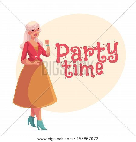 Old, senior, gray-haired elegant lady dancing, cartoon style invitation, banner, poster, greeting card design. Party invitation, advertisement, portrait of elegntly dressed old woman dancing