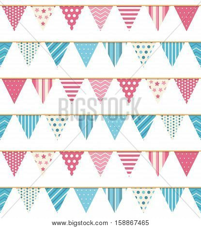 Bunting seampless pattern, bunting background, pink and blue bunting, vector eps10 illustration