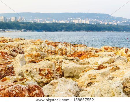 Strengthening of the coastline. Coast of the Black Sea. Varna, Bulgaria
