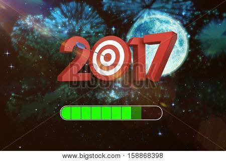 3D Numbers with bulls eye arrow against colourful fireworks exploding on black background
