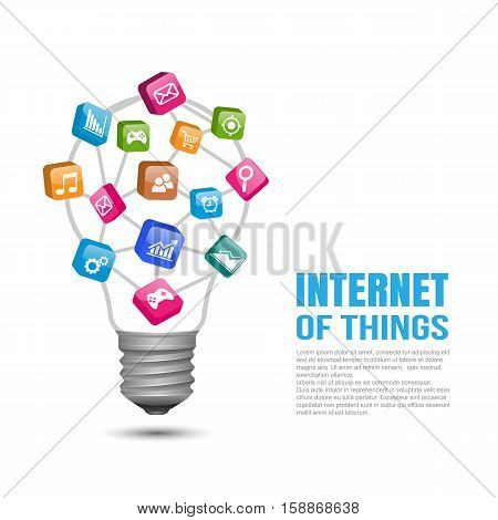 Internet of things concept,  Light bulb with colorful education icon. Vector