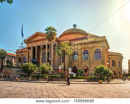 The famous Teatro Massimo in Palermo, Sicily