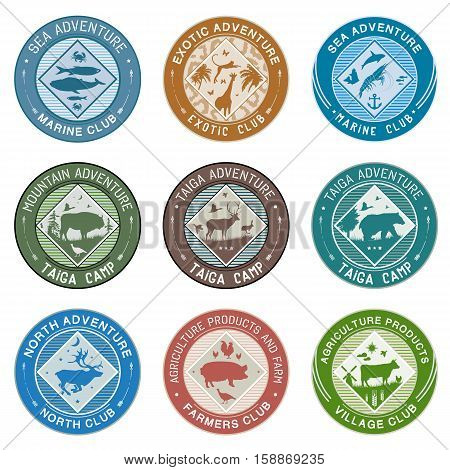 Logo animals, illustration, label: farm animals and agriculture, marine creatures and fishes, animals of the taiga and mountains, animals of South Africa and the North.