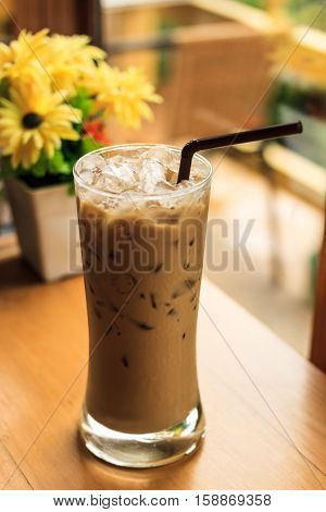 Feel fresh iced coffee drink , On the table