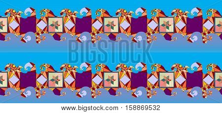 Seamless wave patchwork pattern. Colorful ornamental and blue waves. Textile design.