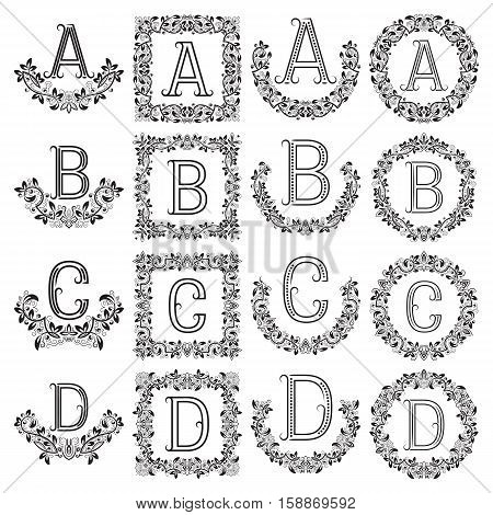 Patterned monograms set of letters A B C D. Heraldic symbols in wreaths floral square and round frames.