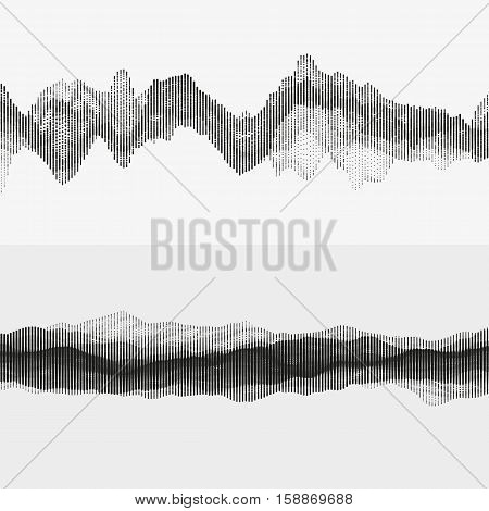 Segmented vector audio waves. Advanced digital music visualization. Monochrome illustration of sound frequencies. Element of design.