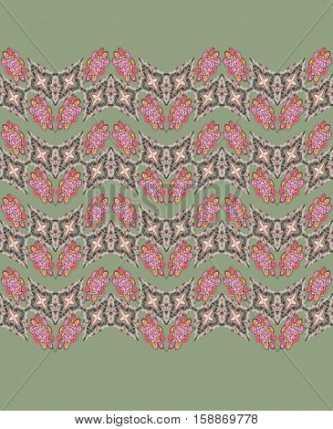 Decorative seamless pattern with zigzag ornamental lines on green background.