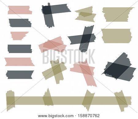 Scotch, adhesive tape pieces isolated on white vector set. Sticky paper scotch, illustration of piece sticky tape transparent