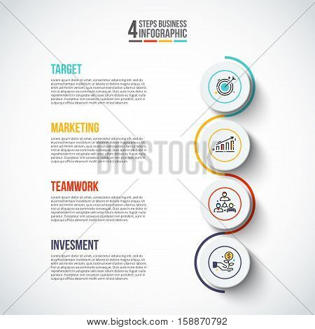 Vector circles with thin lines for infographics. Template for diagram, graph, presentation and chart. Business concept with 4 options, parts, steps or processes. Stroke icons.