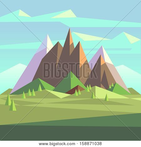Snow rock mountains landscape in low poly vector style. Landscape with snow mountain, nature polygon outdoor landscape illustration